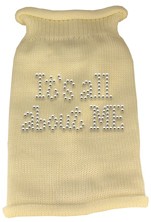 It's All About Me Rhinestone Knit Pet Sweater XS Cream